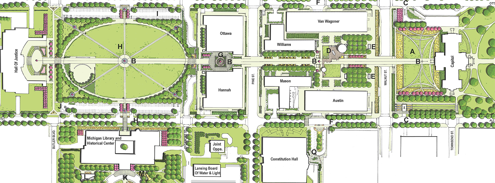 State of Michigan Capitol Complex Master Plan | Nowak & Fraus on wv state capitol map, state of michigan buildings map, flint michigan map, romney building lansing michigan map, virginia state capitol map, capitol building map, pa state capitol map, washington state capitol map, michigan commerce map, grand river michigan map, michigan county map, okemos michigan map, oklahoma state university building map, michigan points of interest, michigan amtrak map, michigan camping map, arizona state capitol map, minnesota state capitol map, michigan tourism map, oklahoma state capitol map,